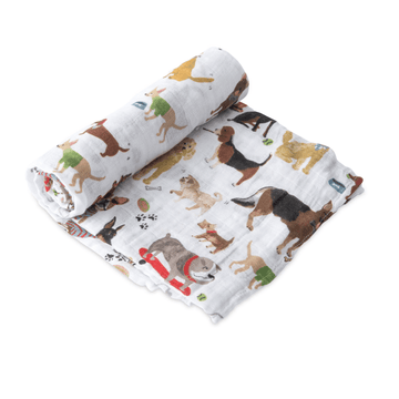 Cotton Muslin Swaddle Blanket, Woof