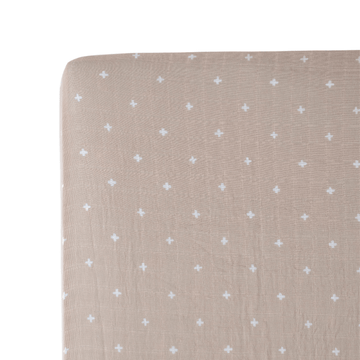cotton muslin crib sheet, taupe cross
