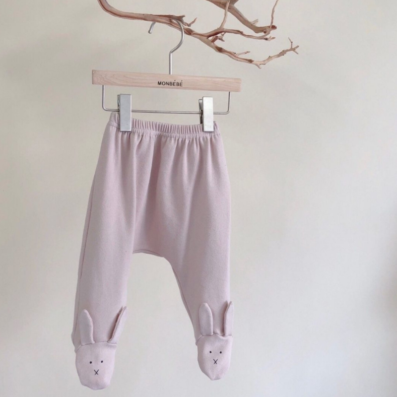 monbebe bunny foot leggings in pink (12-18m)