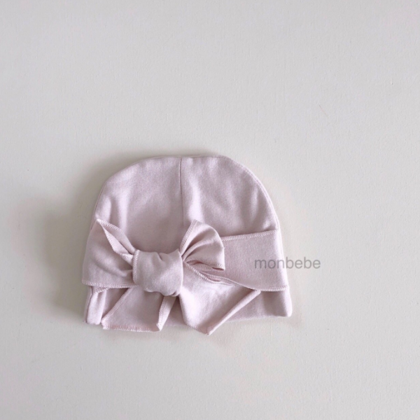 monbebe bow beanie in pink