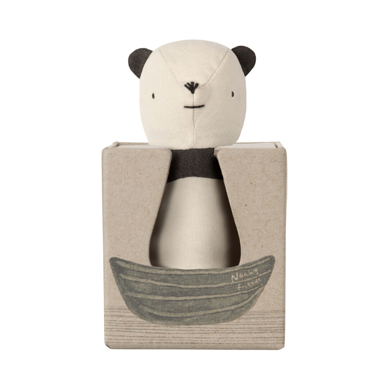 maileg panda rattle packaged in gift box