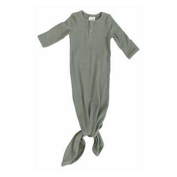 Organic Ribbed Cotton Knotted Baby Gown, Green