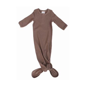 Organic Ribbed Cotton Knotted Baby Gown, Plum