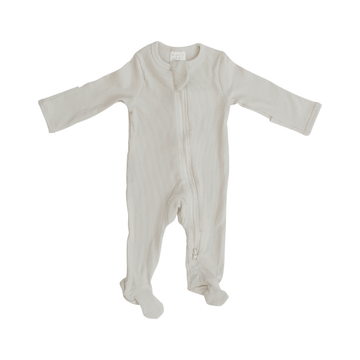 Mebie Baby Organic Cotton Ribbed Footed One-Piece Zipper, Vanilla