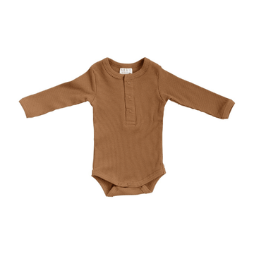 Mebie Organic Snap Long-Sleeve Ribbed One-Piece, Mustard