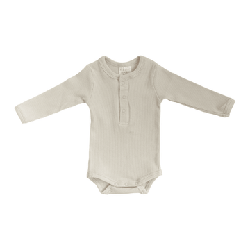 Mebie Organic Snap Long-Sleeve Ribbed One-Piece, Vanilla