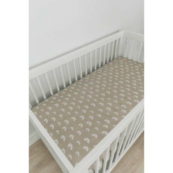 cotton muslin crib sheet, sand rainbow