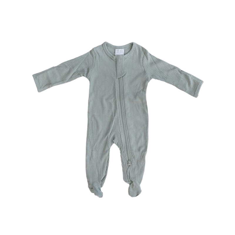 ribbed footed one-piece zipper, sage