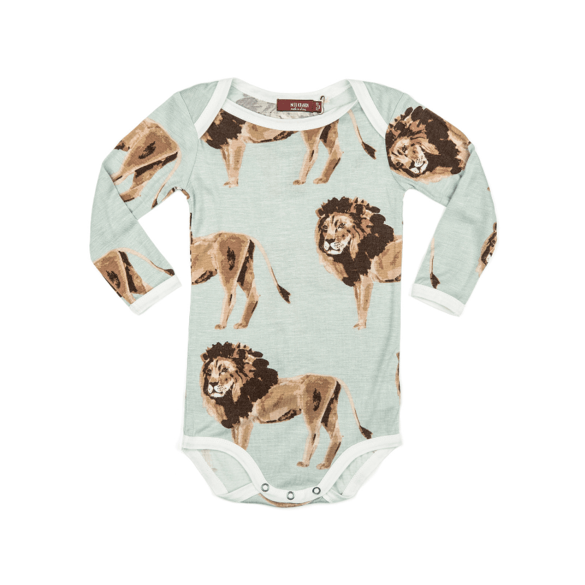 Bamboo Long-Sleeve One-Piece, Lion