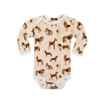 organic long sleeve bodysuit, natural dog
