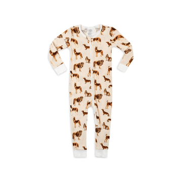 milkbarn bamboo zipper pajama, natural dog