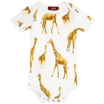 Milkbarn Bamboo Short-Sleeve One-Piece Orange Giraffe
