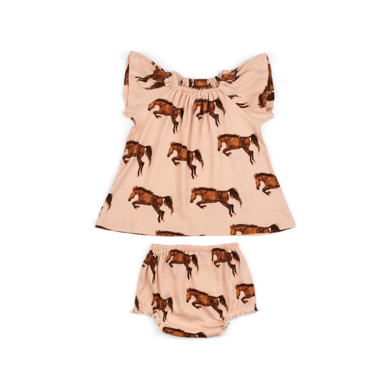 organic dress + bloomer set, horse
