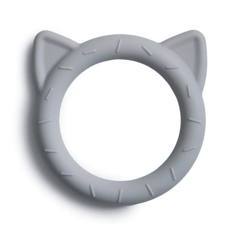 mushie silicone cat teether stone