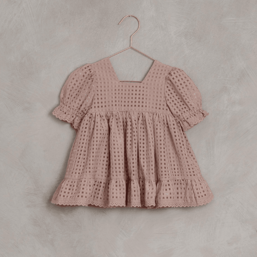 Quinn Dress, Dusty Rose Check