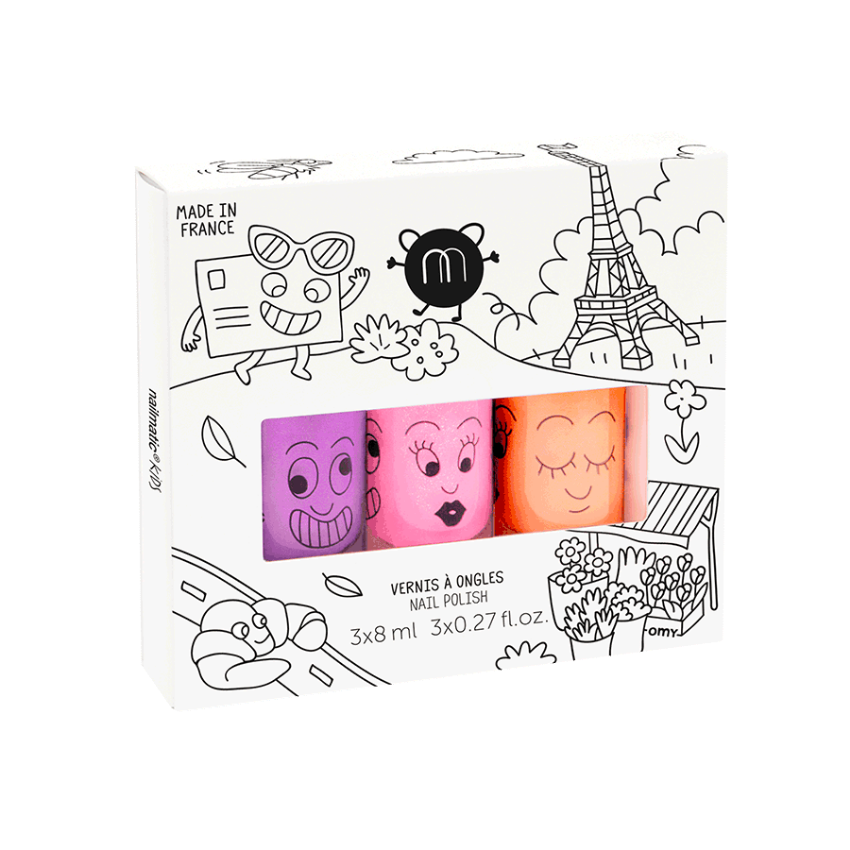 Water-Based Nail Polish Set of Three, Paris Neon