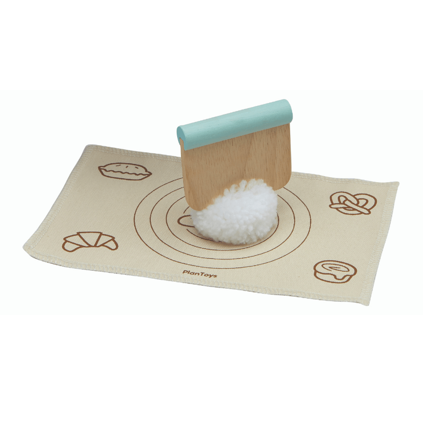 Plan Toys bread loaf set dough and mat and dough scraper