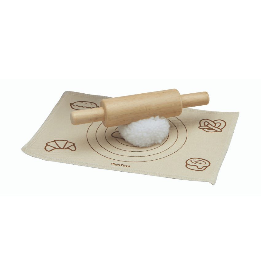 Plan Toys bread loaf set rolling pin dough and mat