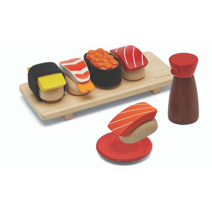 Plan Toys sushi set complete and dipping salmon