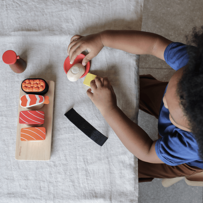 Plan Toys sushi set complete child playing overhead