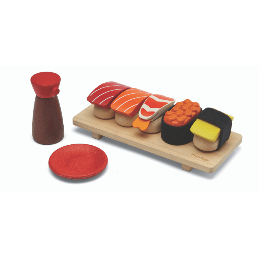 Plan Toys sushi set complete with soy sauce
