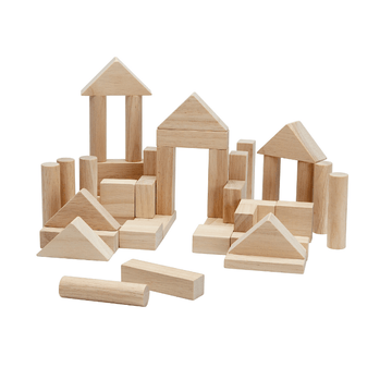 40 unit wooden blocks, natural