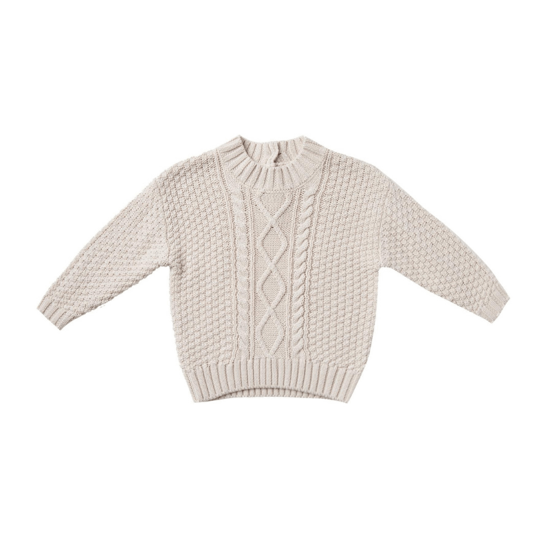 Organic Cable Knit Sweater, Pebble