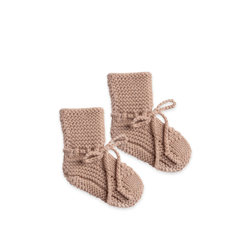 Quincy Mae sweater knit booties petal pink
