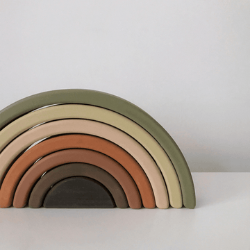 Wooden Rainbow Stacker, Olive