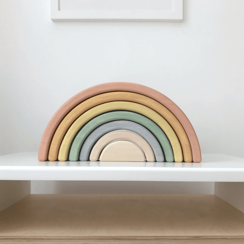 Sabo Wooden Rainbow Stacker, Pastel