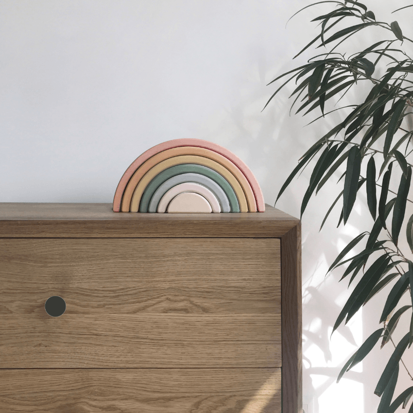 Wooden Rainbow Stacker, Pastel