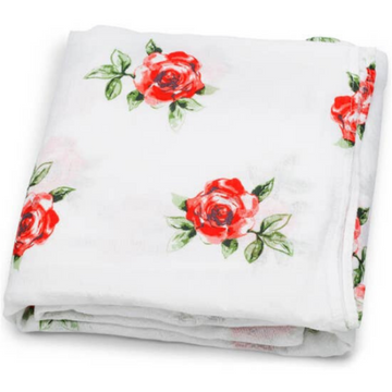 adaline red rose swaddle from bamboo and cotton
