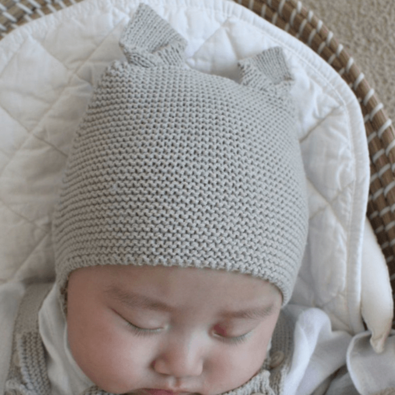 soft knit animal hat light grey