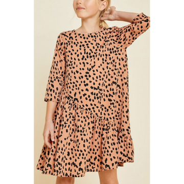 asymmetrical ruffle dotted swing dress for tween girls