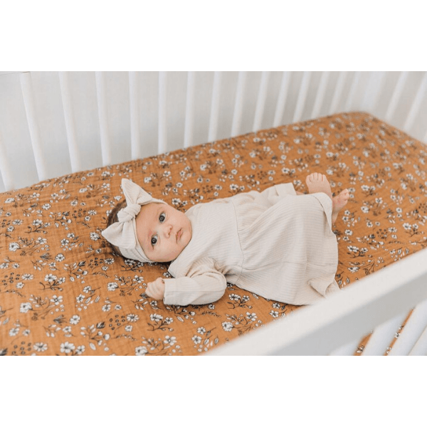 baby on mebie baby vintage floral crib sheet