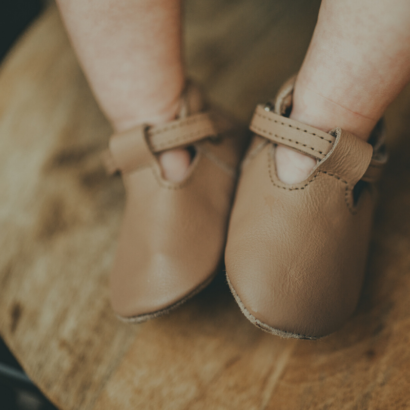 elia leather baby shoes, praline