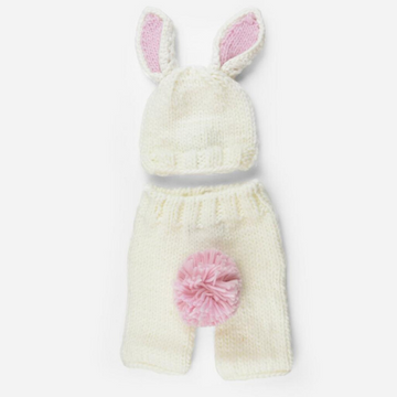bailey bunny newborn set, white and pink