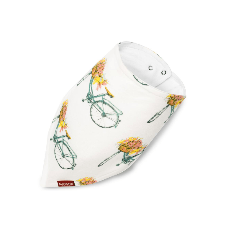bamboo kerchief bib, floral bicycle