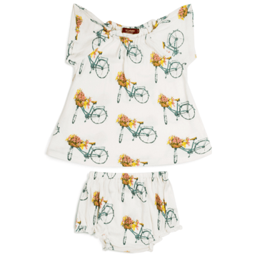 bamboo dress + bloomer set, floral bicycle