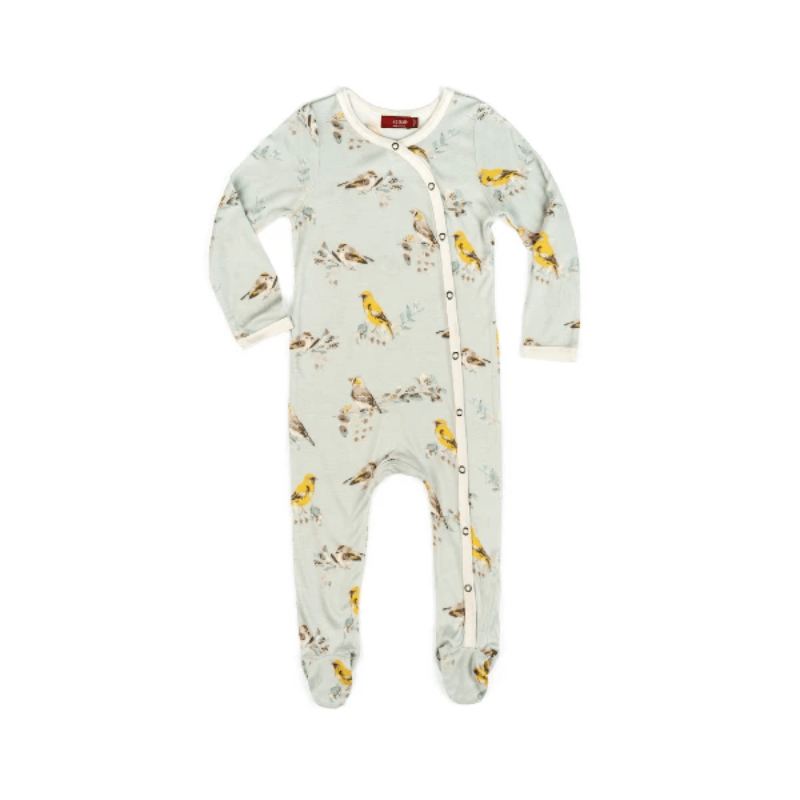 bamboo footed romper in blue birds