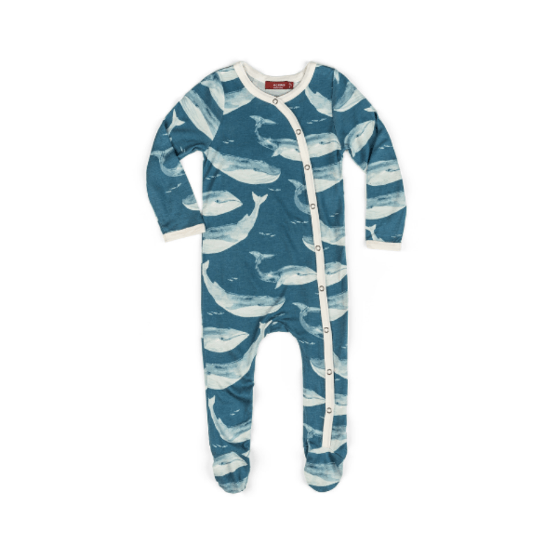 bamboo footed romper in blue whale