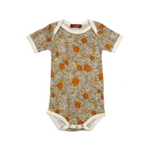 bamboo short-sleeve one-piece in grey floral (pre-order now!)