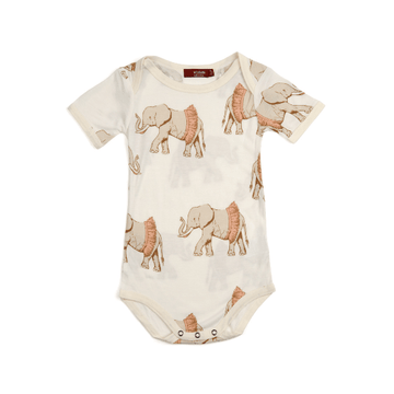 milkbarn bamboo short sleeve one-piece in tutu elephant