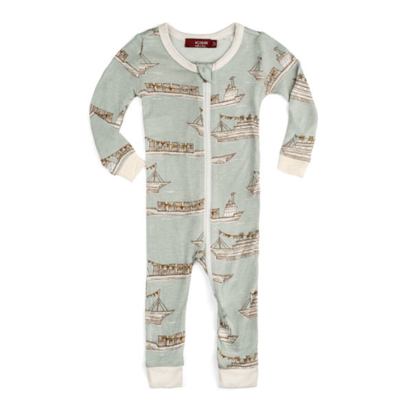 milkbarn bamboo zipper pajama in blue ships