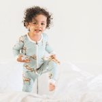 milkbarn bamboo zipper pajama in blue moose