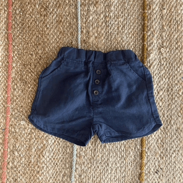 button shorts in navy