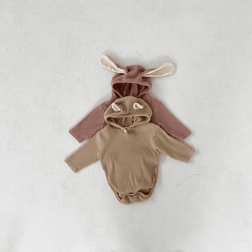 Animal Romper, Beige Bear