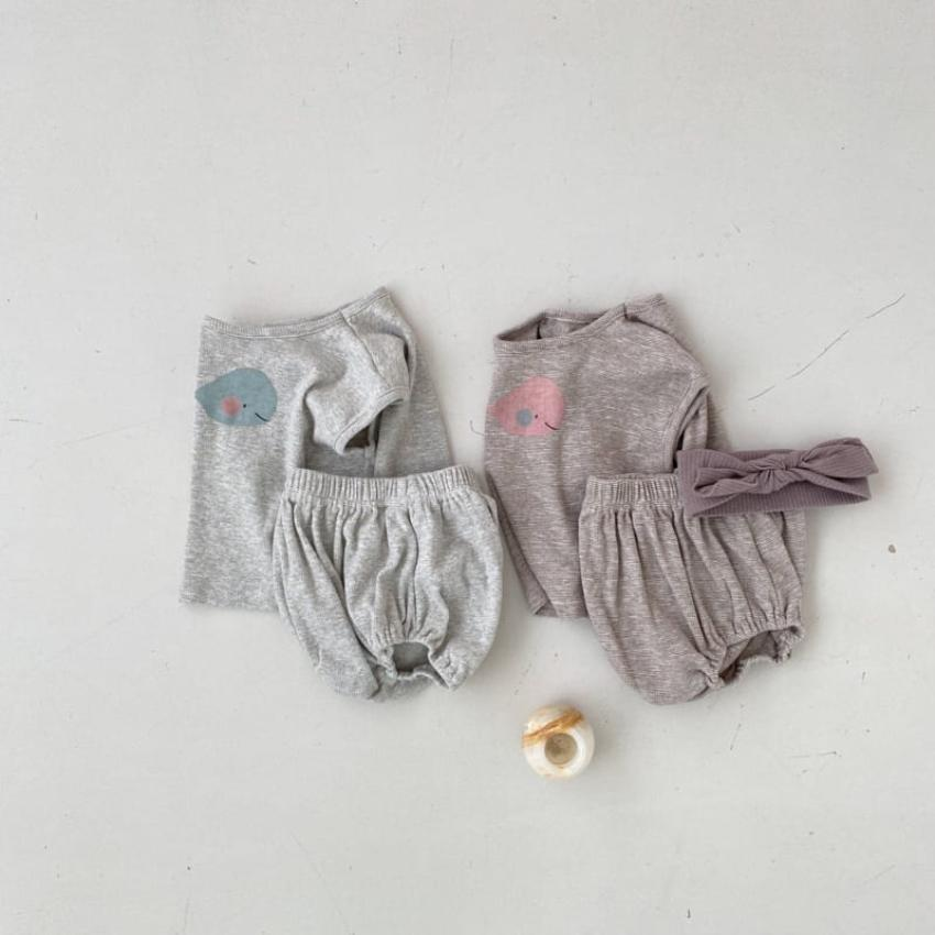 Whale Tee + Bloomers Set, Grey