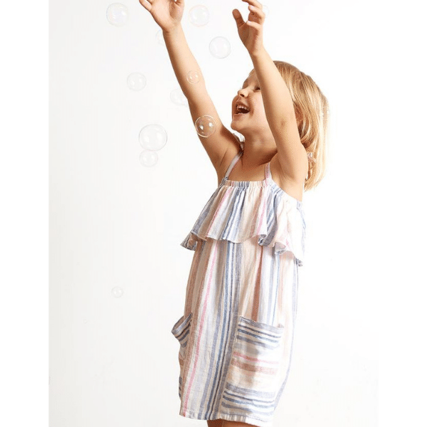 bella dahl ruffle sundress in ibiza stripe