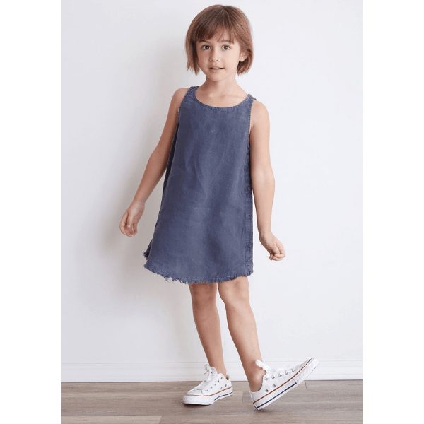 bella dahl side button dress in navy for girls